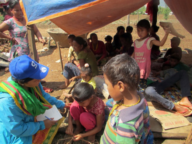 Plan International staff are working around the clock to distribute emergency aid to hard-to-reach communities in the wake of the earthquake in Nepal, prioritizing the most vulnerable, especially children (CNW Group/Plan Canada)