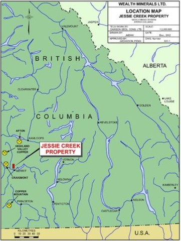 Figure 1:  Location of the Jesse Creek Property, Merritt, B.C. (CNW Group/Wealth Minerals Limited)