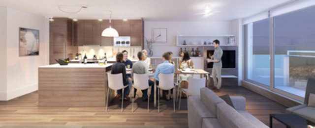 An artistic rendering of a BosaSPACE home's transformable features, including a kitchen island that transforms into a work space or a dining room table for eight people. PHOTO CREDIT: Bosa Properties (CNW Group/Bosa Properties)