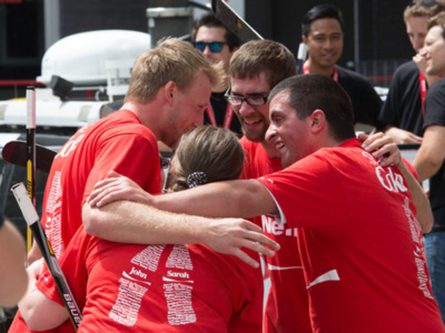 Coca-Cola Canada Athlete, Steven Stamkos and members of Special Olympics Canada's 2013 World Games silver-medal winning floor hockey team inspire Canadians to get active with a rousing game of ball hockey in Toronto. (CNW Group/Coca-Cola Canada)