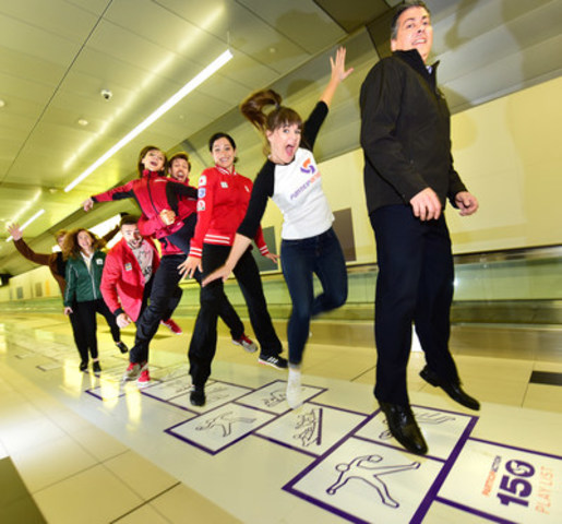 (From front to back): Elio Antunes, President and CEO of ParticipACTION, Sara Hennessey, Play List ambassador, Canadian Olympians and athletes, and corporate partners unveil a 430-foot-long hopscotch to kick off voting for the ParticipACTION 150 Play List. Submit or vote on your favourite Canadian way to move at www.participaction.com/150. (CNW Group/ParticipACTION)
