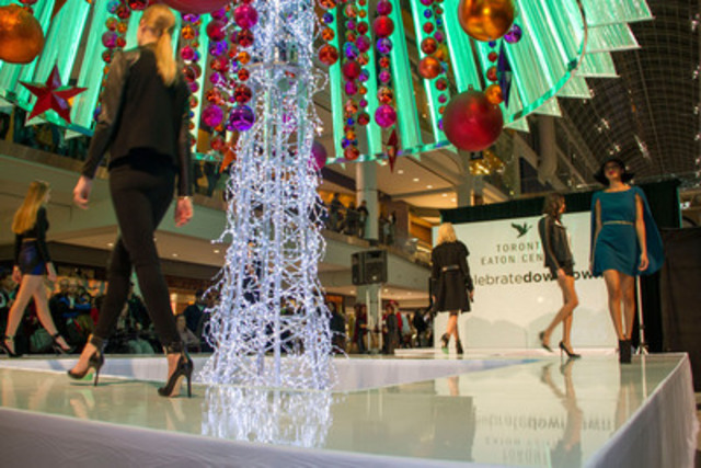 Toronto Eaton Centre kicked off Christmas in downtown Toronto on Thursday evening with a fashion show and Christmas-remixed DJ set curated by The REMIX Project graduates. Photo by Ruth Titus. (CNW Group/Toronto Eaton Centre)