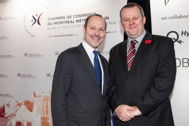 Mr. Michel Leblanc, president and CEO of the Board of Trade of Metropolitan Montreal (left) and Mr. Jon Fairest, president and Chief Executive Officer, Sanofi Canada (right). In the presence of 200 business leaders this morning, Mr. Fairest shared a fresh perspective on how to create a more viable healthcare system in Canada. (CNW Group/SANOFI CANADA)