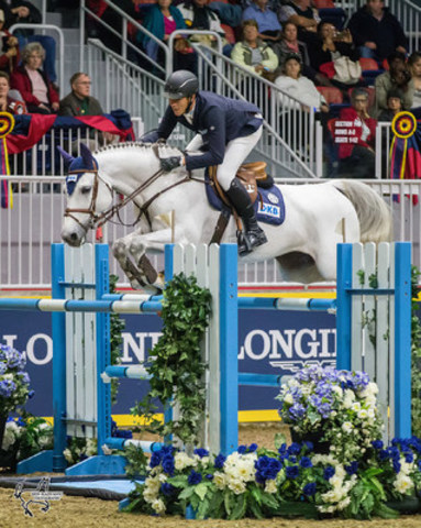 David Will of Germany placed second in the $35,000 International Jumper Power and Speed riding Monodie H on Tuesday, November 8, at the CSI4*-W Royal Horse Show. Photo by Ben Radvanyi Photography (CNW Group/Royal Agricultural Winter Fair)
