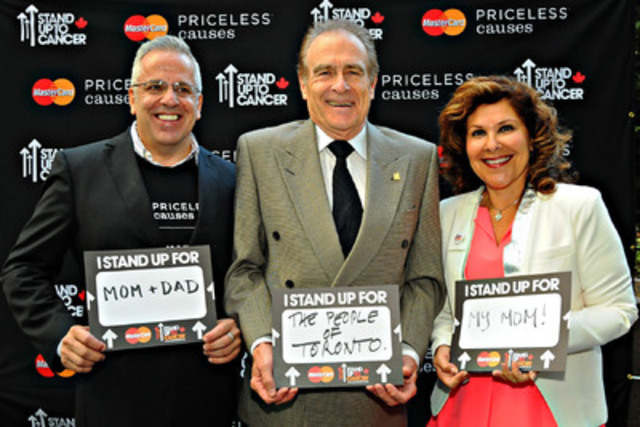 Betty DeVita, President, MasterCard Canada, Norm Kelly, Deputy Mayor, City of Toronto and Tom Chiodo,  Sr. VP, Stand Up To Cancer Canada (SU2C), join forces to announce support for SU2C Canada's groundbreaking innovative and collaborative cancer research, which is marking its entry into Canada. (CNW Group/MasterCard Canada)