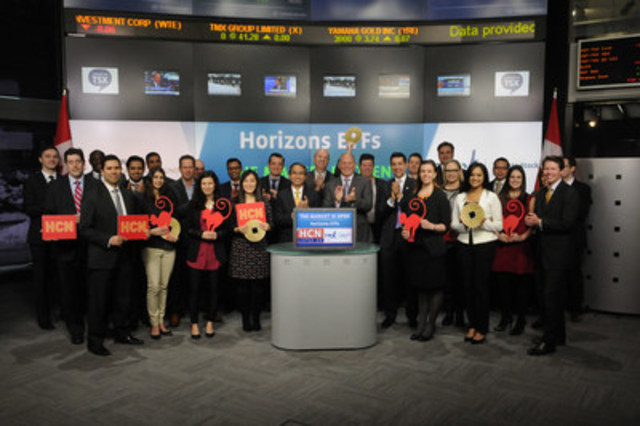 Steven Hawkins, President & Co-CEO, Horizons ETFs joined Dani Lipkin, Head, Business Development, Exchange Traded Funds, Closed-End Funds, and Structured Notes, TMX Group to open the market to launch Horizons China High Dividend Yield Index ETF (HCN). Horizons ETFs is a financial services company and a subsidiary of the Mirae Asset Financial Group. As of January 31, 2016, Horizons ETFs had 71 ETFs listed on Toronto Stock Exchange with a market value of $5.2 Billion. Horizons China High Dividend Yield Index ETF (HCN) commenced trading on Toronto Stock Exchange on January 12, 2016. For more information please visit www.horizonsetfs.com (CNW Group/Toronto Stock Exchange)
