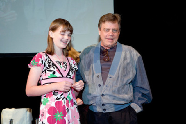Rhianna Martin, (Age 17), from Campbell River, BC accepting her First Place Sophomore award at the Braille Challenge Finals in 2008 with guest emcee, Mark Hamill. Rhianna has been a Braille Challenge finalist the last five out of seven years. (CNW Group/T-Base Communications)