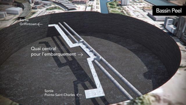 Schématisation de la station Bassin Peel offrant un accès à Griffintown et à Pointe-Saint-Charles. (CNW Group/CDPQ Infra Inc.)
