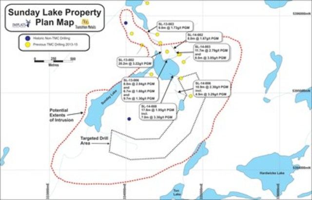 Figure 1: Plan Map of the Sunday Lake Property. (CNW Group/Transition Metals Corp.)
