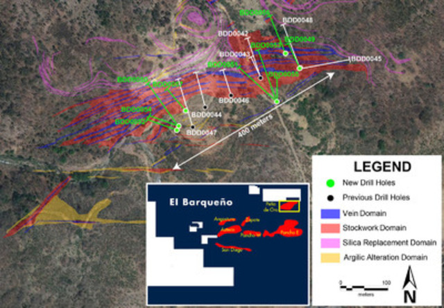 Figure 1 -Drill map of Pena de Oro Target (CNW Group/Cayden Resources Inc.)