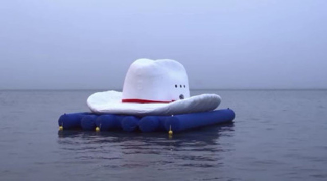 World's Largest Inflatable White Cowboy Hat Arrives in Toronto's Harbour