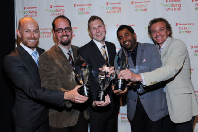 L-R: Vancouver's Lanefab Design/Build, Winnipeg student Benjamin Gillies and Toronto's Quinzee named 2013 Scotiabank EcoLiving Award winners. Photo courtesy Sam Santos/George Pimental Photography. (Groupe CNW/Banque Scotia)