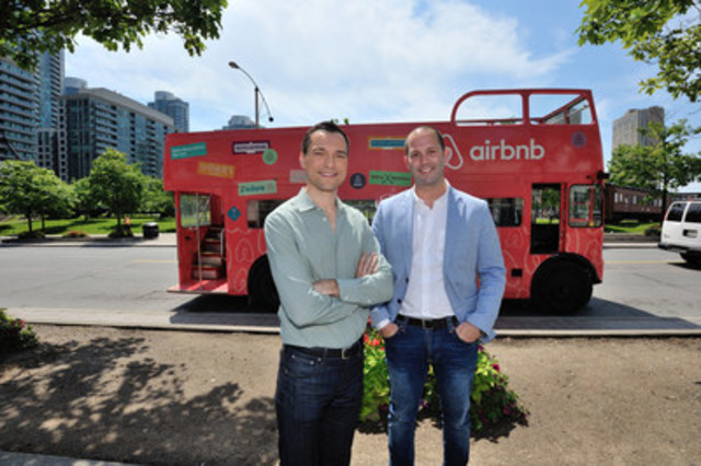 Nathan Blecharczyk, Co-Founder and CTO, Airbnb and Aaron Zifkin, Country Manager - Canada, Airbnb, with #TheAirbnbBus in downtown Toronto, Ontario, Canada. (CNW Group/Airbnb)