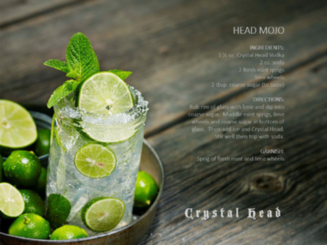 Crystal Head Vodka celebrates the official arrival of summer in Canada with its stylish, premium pure spirit. Head Mojo cocktail recipe made with Crystal Head Vodka. (CNW Group/Crystal Head Vodka)