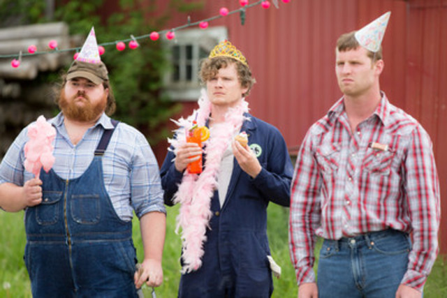(L to R): LETTERKENNY's Hicks Dan (Wilson), Daryl (Dales), and Wayne (Keeso) celebrate the good news. (CNW Group/CraveTV)