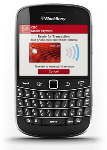 CIBC's mobile payment solution allows Canadians to pay for small ticket items with their CIBC credit card at participating retailers using their NFC-enabled smartphone. (CNW Group/Giesecke & Devrient)