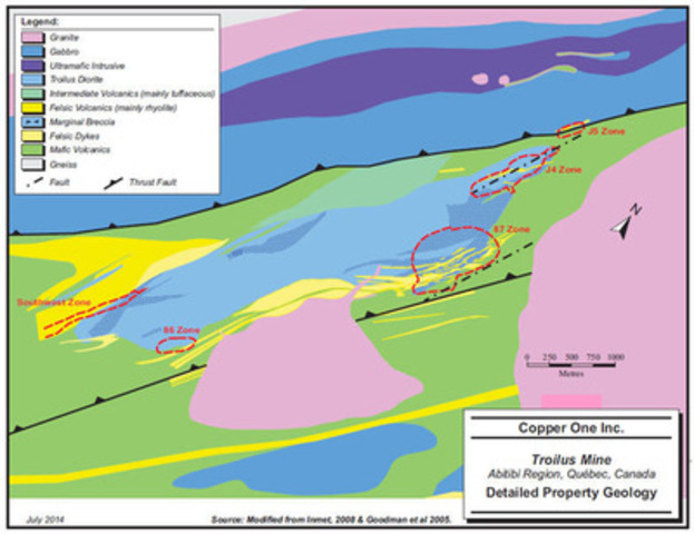 Figure 1 - Geology map of the Troilus property showing the relative position and size of the main Z87 Zone and the satellite J4 and J5 Zones.  The Southwest Zone and the 86 Zone, also hosted in the Troilus Diorite, are exploration targets. (CNW Group/Copper One Inc.)