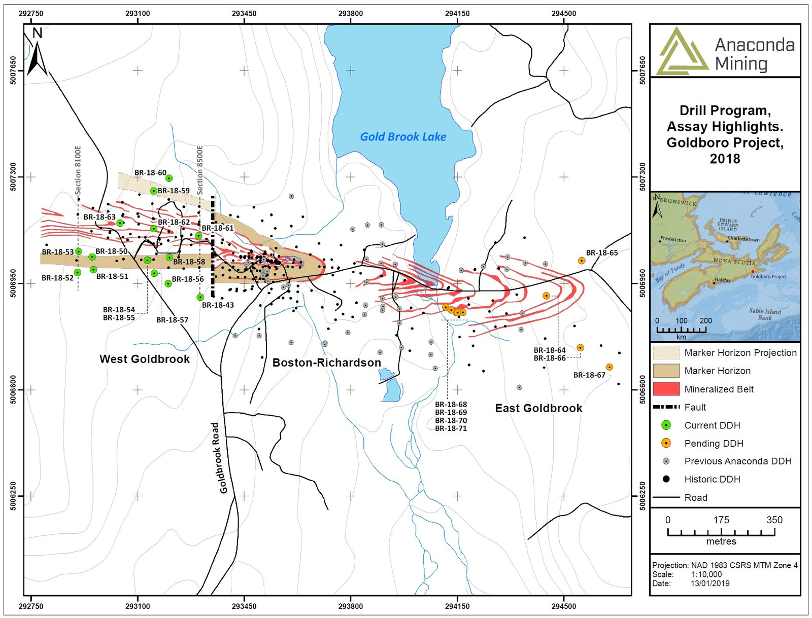 Exhibit A. A map showing the location of the three mineralized systems of the Goldboro Gold Deposit over a strike length of 1.7 km, the location of the Marker Horizon projected to surface and the location of drill holes reported in this press release and those pending for the remainder of the 10,000-metre drill program.