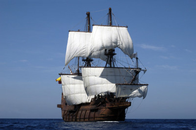 Step back in time aboard El Galeón, a breathtaking 1:1 scale reconstruction of a 16th century Spanish galleon that was part of Spain's West Indies fleet.  El Galeón will participate in the TALL SHIPS CHALLENGE® Great Lakes 2016 series.   The Redpath Waterfront Festival, July 1-3 in Toronto will be the first port to launch the series. With more than 3,400 square feet, the ship has six decks to explore, 164 ft long and has three masts and seven sails. (CNW Group/Water's Edge Festivals & Events)