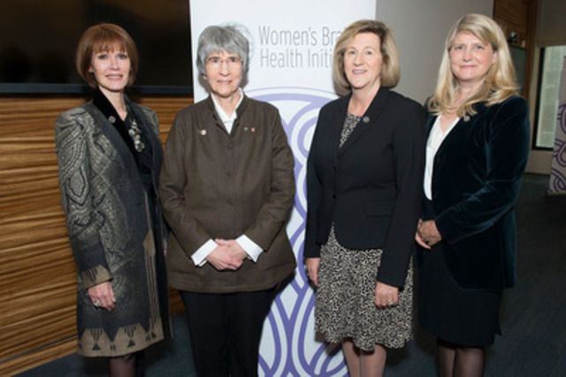 Pictured from left to right: Lynn Posluns, WBHI Founder and President, Dr. Sandra Black,Brill Chair in Neurology, Dept of Medicine, University of Toronto and Sunnybrook Health Sciences Centre, Dr. Helena Jaczek, MPP & Parliamentary Assistant to the Minister of Health & Long-Term Care, Jane Allen, Partner, Global Leader Renewable Energy & Chief Diversity Officer at Deloitte. (CNW Group/Women's Brain Health Initiative (WBHI))