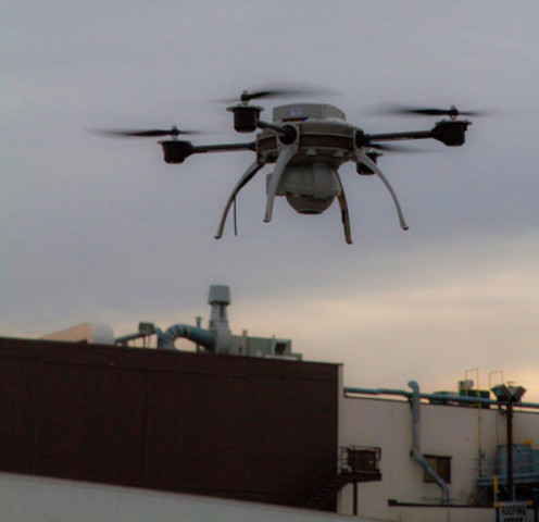 SkyBEAM™ uses unmanned aerial vehicles (UAVs) equipped with high-resolution thermographic (infrared) and video cameras to help Tremco Roofing's Canadian customers locate where their facilities may be leaking energy, or may have wet insulation; and to find and photograph other potential problems on the building. (CNW Group/Tremco Roofing and Building Maintenance)