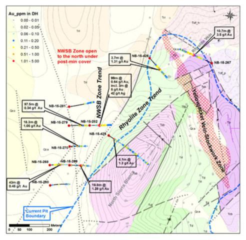 Figure 2: Geologic map of the NW Sierra Blanca Target. (CNW Group/Corvus Gold Inc.)