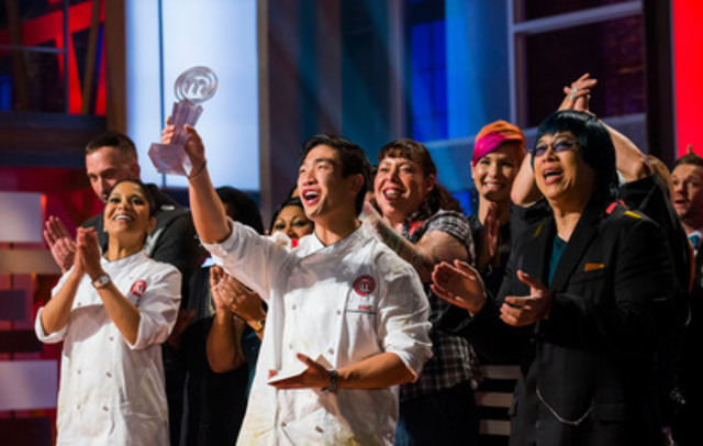 Eric Chong of Oakville, Ont. is the first-ever winner of MASTERCHEF CANADA, with runner up Marida Mohammed (far left) and judge Alvin Leung (far right). (CNW Group/CTV)