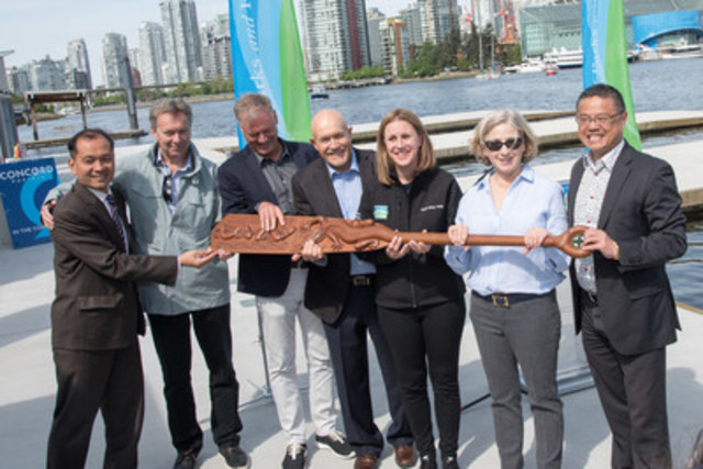 Opening of the new $3.2 million paddling centre on False Creek funded by Concord Pacific. left to right: Peter Wong, past Chair,Canadian International Dragon Boat Festival Society; Matt Meehan, SVP Planning, Concord Pacific; Peter Webb, SVP Developments, Concord Pacific; Duane Geddes, Executive Director, BC Mobility Opportunities Society; Sarah Kirby-Yung, Vancouver Park Board Chair; Ann Phelps, General Manager, Canadian International Dragon Boat Festival Society; Coun, Raymond Louie, acting Mayor of Vancouver. (CNW Group/Canadian International Dragon Boat Festival Society)