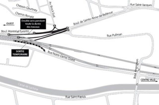 Projet Turcot à Montréal - Rappel - Fermeture complète de bretelles de l'échangeur Montréal-Ouest (Groupe CNW/Ministère des Transports)