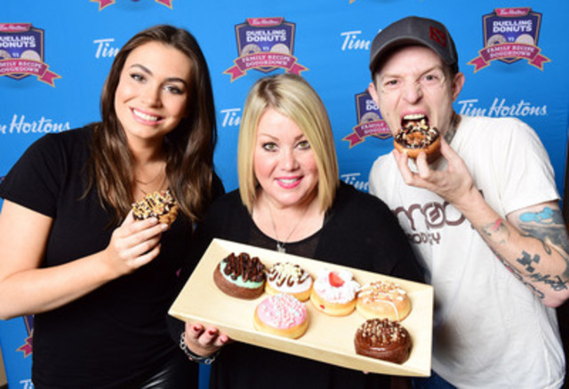 Jann Arden, deadmau5 and Sophie Tweed-Simmons had the difficult task of narrowing eight finalists down to four, as part of Tim Hortons Duelling Donuts contest. Today, Tim Hortons opens the polls at DuellingDonuts.ca, allowing the public to decide which two donuts will advance to the finalist round. (CNW Group/Tim Hortons)