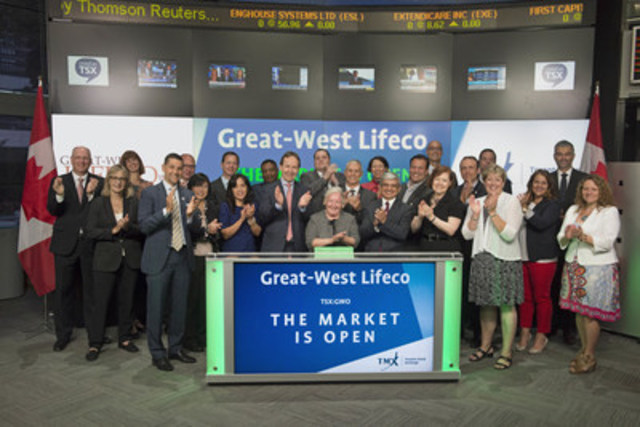 Garry MacNicholas, Executive Vice President and Chief Financial Officer, Great-West Life Assurance Company, and Great-West Lifeco Inc. (GWO), joined Shaun McIver, Chief Client Officer, Equity Capital Markets, TMX Group to open the market to celebrate the 125th anniversary for Great-West Life Assurance Company, and 30 years for Great-West Lifeco Inc. being listed on Toronto Stock Exchange. Great-West Lifeco Inc. is an international financial services holding company with interests in life insurance, health insurance, retirement and investment services, asset management and reinsurance businesses. Great-West Lifeco Inc. commenced trading on Toronto Stock Exchange on June 26, 1986. (CNW Group/TMX Group Limited)