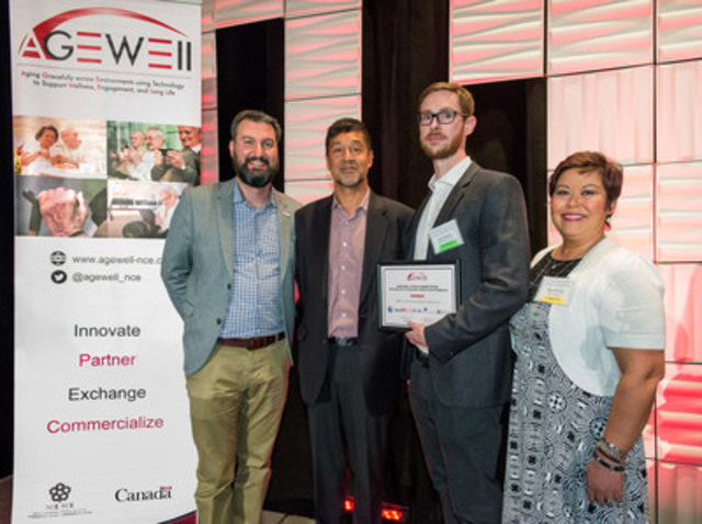 Winterlight Labs was selected as winner of the AGE-WELL Pitch Competition. From left to right: Alex Mihailidis, Scientific Director, AGE-WELL; Kabir Nath, President and CEO, Otsuka North America Pharmaceuticals; Liam Kaufman, CEO and Co-founder, Winterlight Labs; and Mary Michael, Senior Director, Otsuka America Pharmaceutical, Inc. (CNW Group/AGE-WELL Network of Centres of Excellence (NCE))