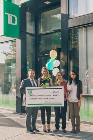 Tony Capotosto, District Vice President, TD Canada Trust, Tamara Piniach, Branch Manager, Pascale Fleury, Regional Coordinator and Laura Handal Lopez, Petite-Bourgogne Coordinator, The YMCAs of Québec. (CNW Group/TD Bank Group)
