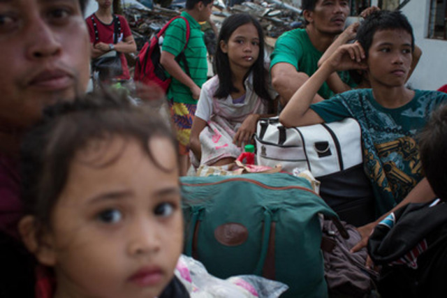 November 13, 2013. International humanitarian organization Action Against Hunger is distributing 128 tonnes of emergency supplies to families affected by Typhoon Yolanda in Tacloban (Philippines) (CNW Group/Action Against Hunger (AAH))