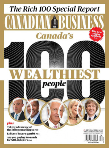 The Canadian Business magazine ranking of the wealthiest Canadians is in its 13th year. At the top of the list? The Thomson family. (CNW Group/Canadian Business Magazine)