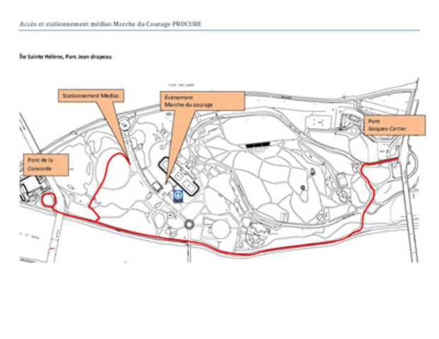 Map with directions to the media parking at Parc Jean-Drapeau for the PROCURE Walk of Courage (CNW Group/PROCURE)