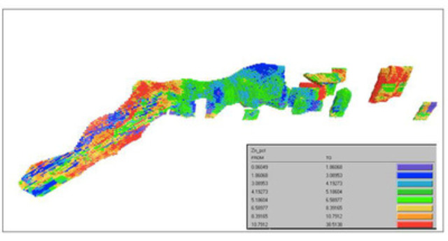 Figure 1; Arex Zinc Grades (CNW Group/Karmin Exploration Inc.)