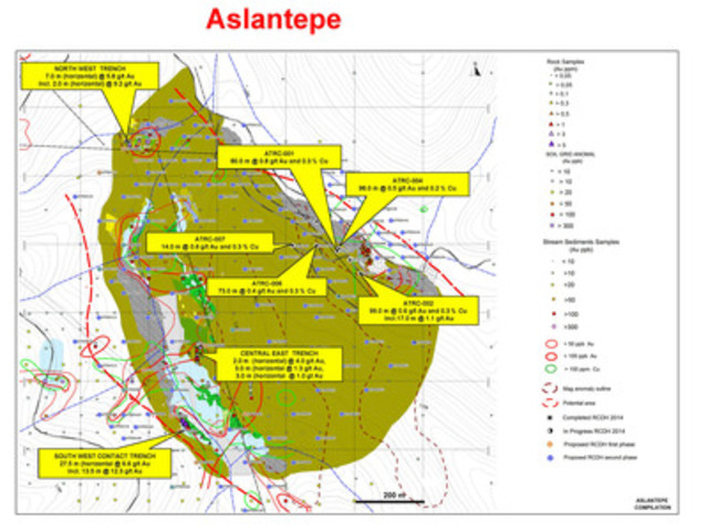 Figure 10: Plan showing location of key assay results from drilling and trenching at Aslantepe in 2014 (CNW Group/Alacer Gold Corp.)