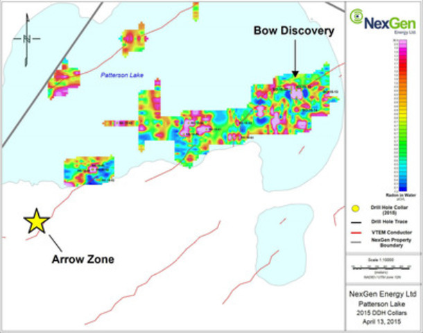 Figure 1: Northeast Patterson Lake Drill Holes and Radon Anomalies (CNW Group/NexGen Energy Ltd.)