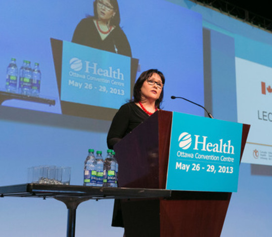 The Honourable Leona Aglukkaq, Minister of Health, delivers an opening address at the e-Health 2013: Accelerating Change Conference on May 27 in Ottawa. Minister Aglukkaq announced funding of $1.6M to support 16 new e-health technology research projects across Canada. (CNW Group/Canadian Institutes of Health Research)