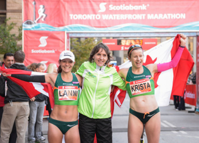 Canadian female marathon record breakers, Lanni Marchant and Krista DuChene are greeted at the finish line by previous record holder, Sylvia Ruegger at the Scotiabank Toronto Waterfront Marathon. (CNW Group/Scotiabank - Sponsorships & Donations)