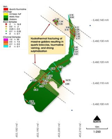Figure 3: Map of the T33 trench showing significant channel sampling and rock chip assays (UTM Nad 83 Zone 15) (CNW Group/Chalice Gold Mines Limited)