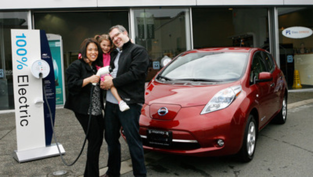 BC's Clendinning family takes delivery of the province's first consumer Nissan LEAF at Morrey Nissan in Port Coquitlam. (CNW Group/Nissan Canada Inc.)