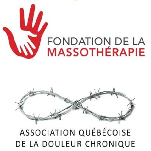 Logos : Fondation de la massothérapie - Association québécoise de la douleur chronique (AQDC) (Groupe CNW/Fondation de la massothérapie)