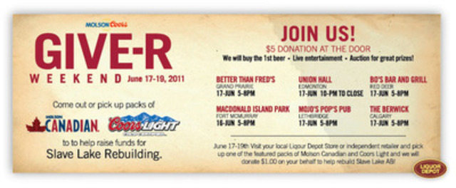 Details for Molson Coors' GIVE-R program, taking place this weekend (CNW Group/MOLSON COORS CANADA)