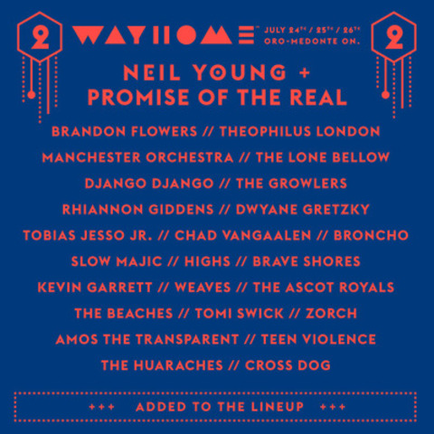WayHome Music and Arts includes headliners Neil Young + Promise of the Real, Sam Smith, Kendrick Lamar, Alt-J, Modest Mouse and Hozier with an additional 60 plus artists performing over the 3 days. The festival takes place at Burl's Creek Even Grounds July 24th - 26th www.wayhome.com (CNW Group/Republic Live Inc.)