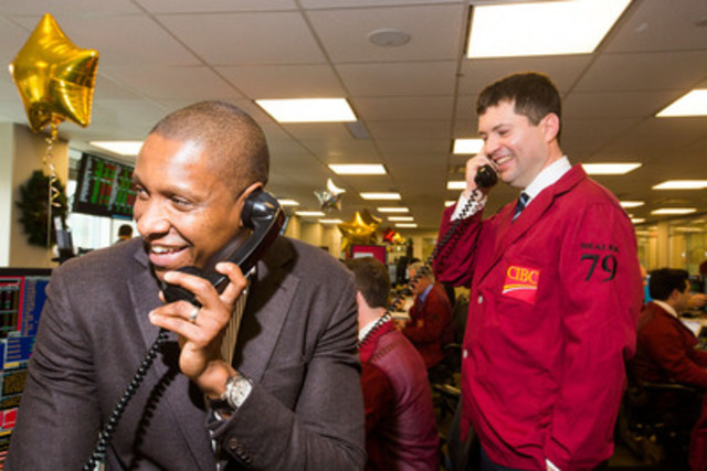 Toronto Raptors President and GM Masai Ujiri seals the deal for kids on CIBC's 31st anniversary of CIBC Miracle Day - the bank's annual fundraiser which last year raised $5.5 million benefiting 550 charities across the country. (CNW Group/CIBC)