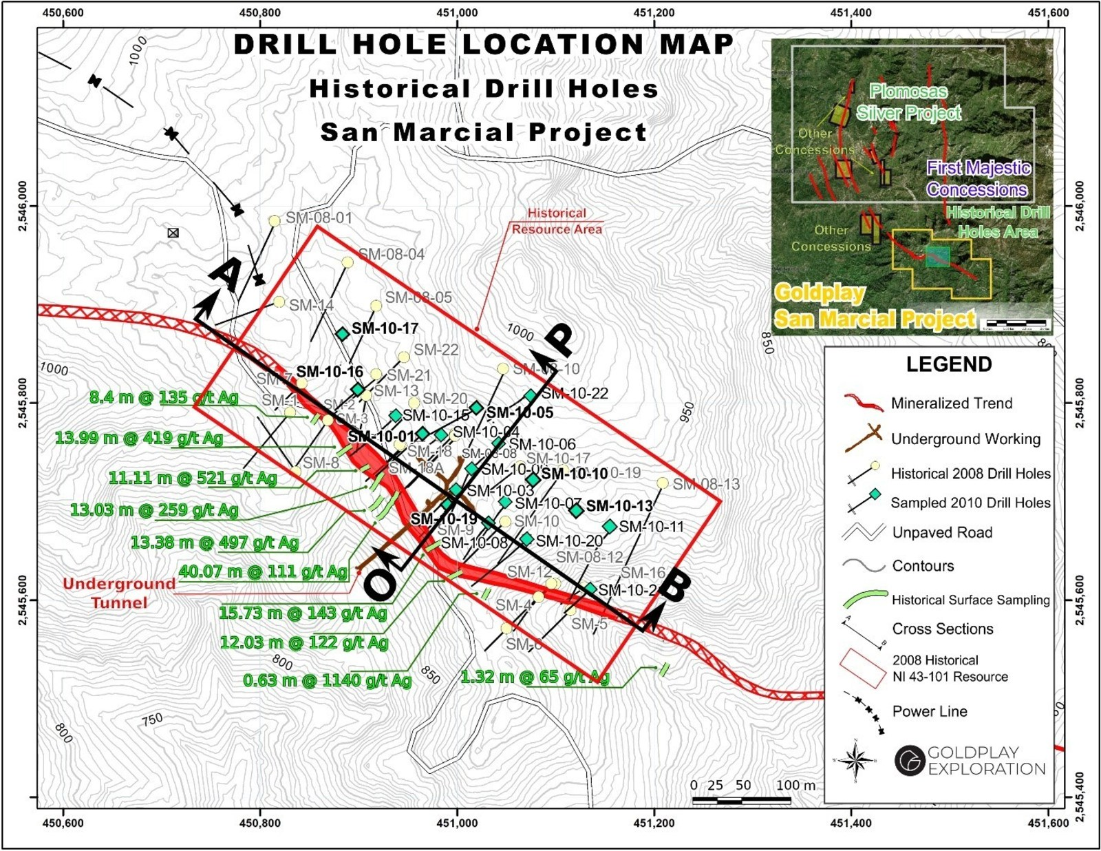 Figure 1: Drill Hole and Underground Tunnel Location Map San Marcial Project