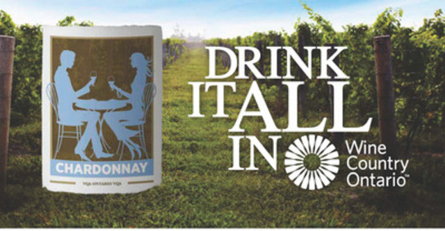 """""""Drink It All In"""" Billboard #3 - Enjoy Wine & Culinary experiences in Wine Country Ontario (CNW Group/Wine Country Ontario)"""