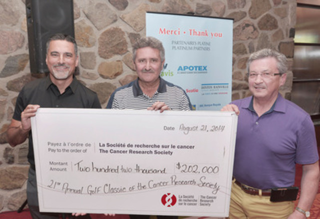 Caption: August 21, 2014 - Elm Ridge Golf Club - Mr. Alain Champagne, President, McKesson Canada, Mr. François Castonguay, President and CEO, Uniprix Group and Mr. Andy Chabot, President and CEO, Cancer Research Society. (CNW Group/Cancer Research Society)